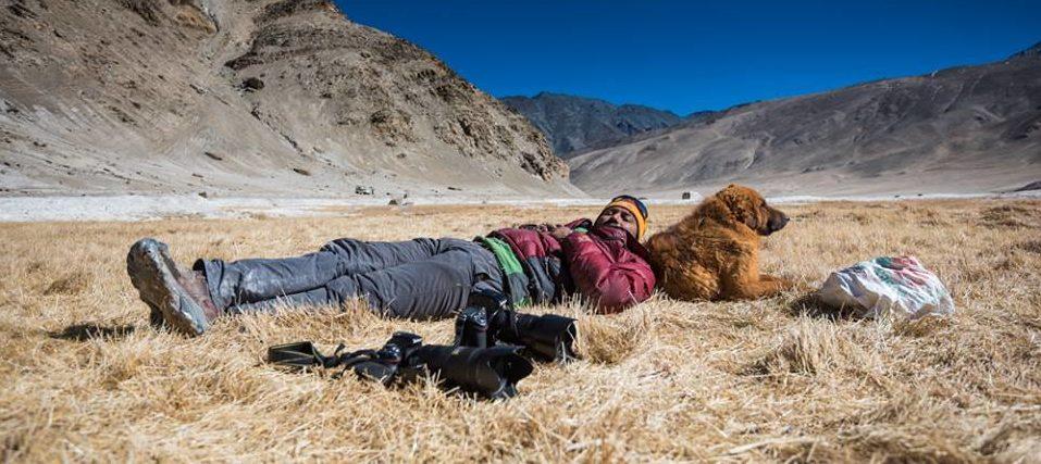 Manish with dog in ladakh