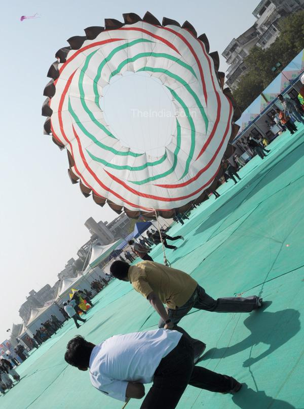 Huge Round Kite at Kite Festival Ahmedabad