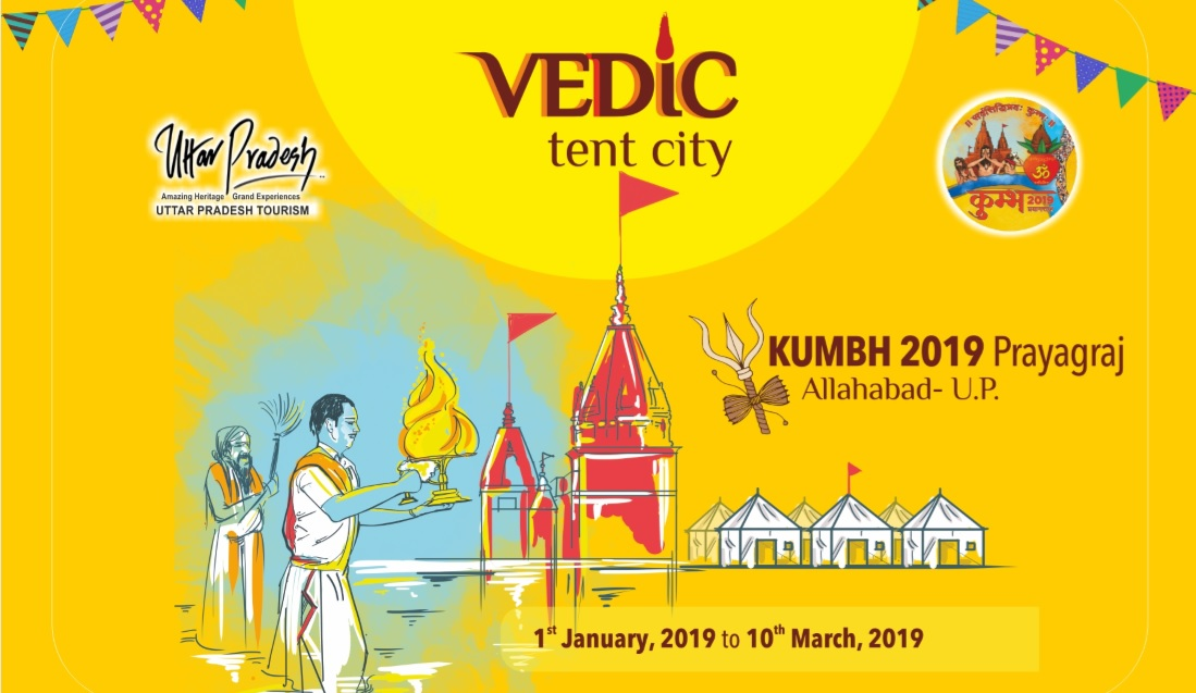 Vedic tent city at Kumbh Mela Prayag