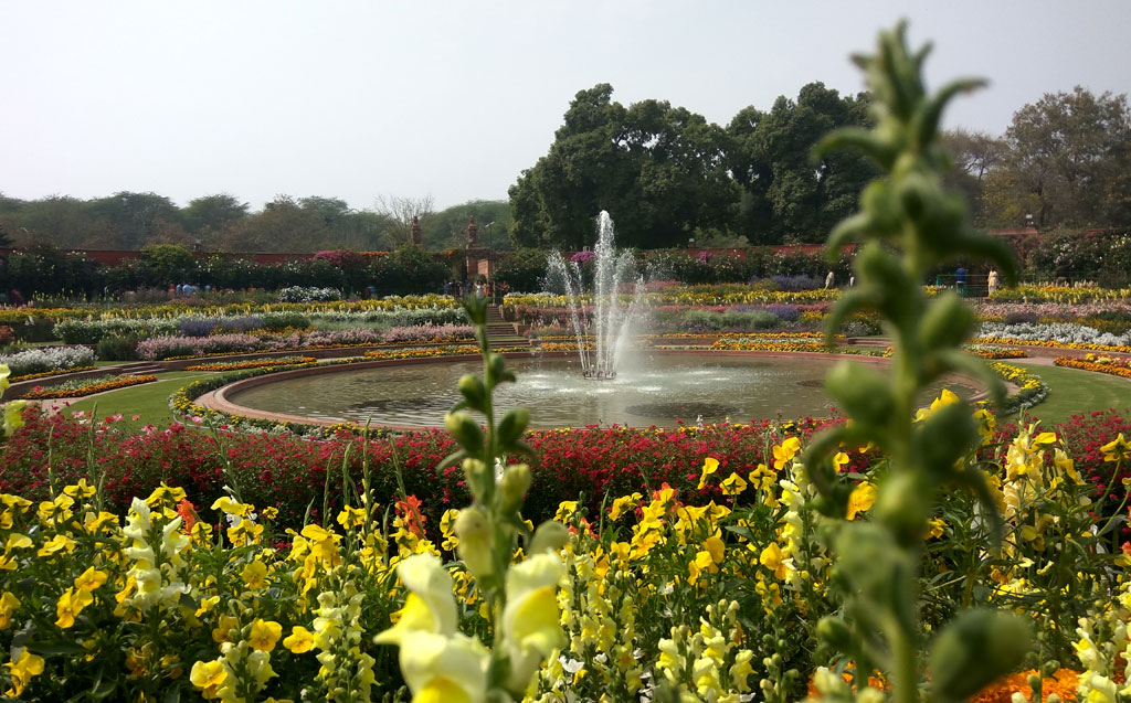 Mughal Gardens Fountains in Delhi